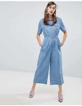Sister Jane Boiler Suit With Jewel Heart Belt In Denim by Sister Jane