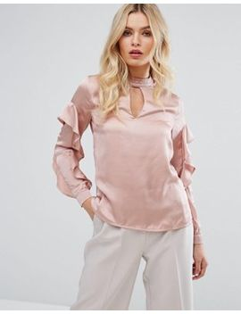 Y.A.S High Neck Ruffle Sleeve Shirt by Y.A.S.