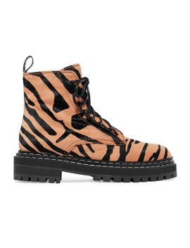 Tiger Print Calf Hair Ankle Boots by Proenza Schouler