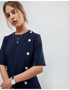 Asos Design Mini Shift Dress With Buttons by Asos Design