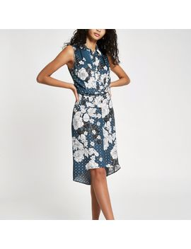 Blue Floral Twist Front Midi Shirt Dress by River Island