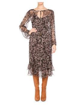 Floral Print Chiffon Long Sleeve Midi Dress, Brown by Pascal Millet