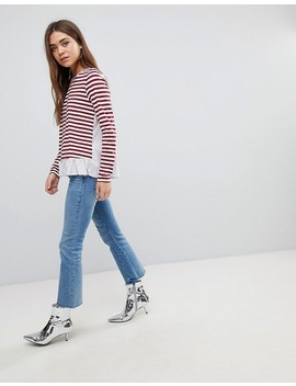 After Market Stripe Long Sleeve T Shirt With Frill Hem by Top