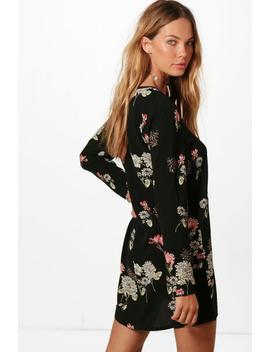 Tie Neck Shift Dress by Boohoo