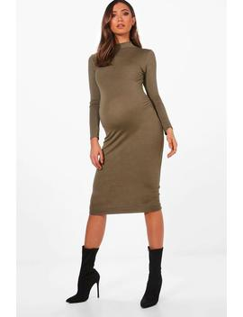 Maternity High Neck Long Sleeve Bodycon Dress by Boohoo