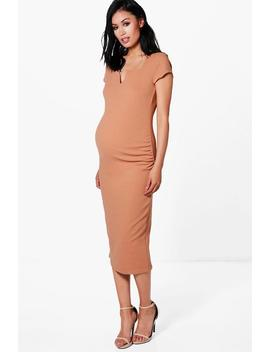 Maternity Tailored Cap Sleeved Midi Dress by Boohoo