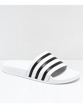 Adidas Adilette White & Black Slide Sandals by Adidas