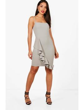 Square Neck Ruffle Hem Bodycon Dress by Boohoo
