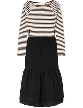 Cotton Seersucker And Striped Jersey Midi Dress by See By Chloé