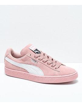Puma Suede Classic+ Peach Beige & White Shoes by Puma