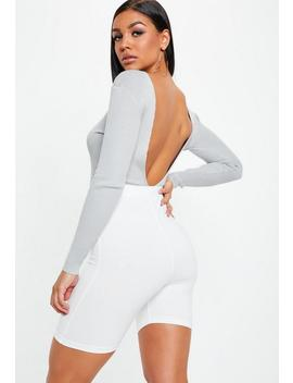 Grey V Plunge Back Ribbed Knitted Bodysuit by Missguided