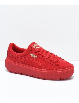 Puma Suede Platform Trace Vd Red Shoes by Puma