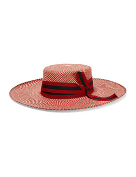Grosgrain Trimmed Toquilla Straw Hat by Sensi Studio