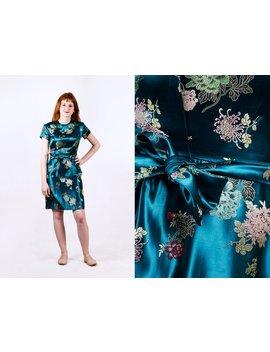 Vintage 1950er Jahre 50er Jahre Seidenbrokat Kleid | Petrol | Bombe | Wackeln | Partei Cocktail Abend | Größe Xs Extra Klein S Klein by Etsy