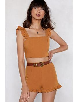 When The Going Gets Ruffle Crop Top And Shorts Set by Nasty Gal