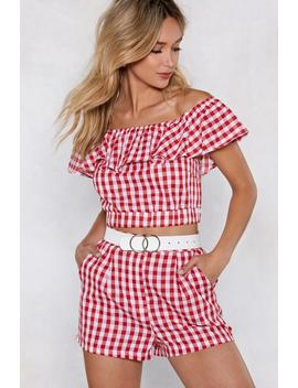 Making Waves Gingham Crop Top And Shorts by Nasty Gal