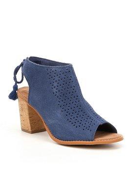 Elba Suede Mosaic Tile Tie Back Block Heel Sandals by Generic