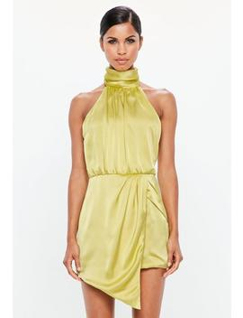 Peace + Love Lime Green Wrap Satin Playsuit by Missguided