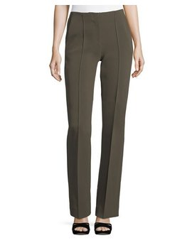Pleated Front Wide Leg Crepe Pants by Diane Von Furstenberg