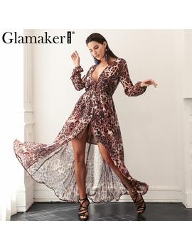 Glamaker Sexy Leopard Deep V Neck Long Dress Women Loose High Waist Buttons Chiffon Dress Summer Dress Evening Party Vestidos by Glamaker