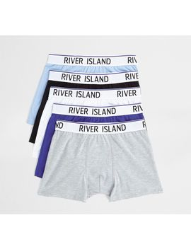 Blue Ri Waistband Trunks Multipack by River Island