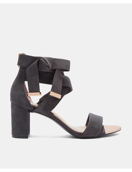 Suede Bow Detail Strappy Sandals by Ted Baker