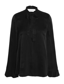 Knotted Washed Silk Satin Blouse by Zimmermann