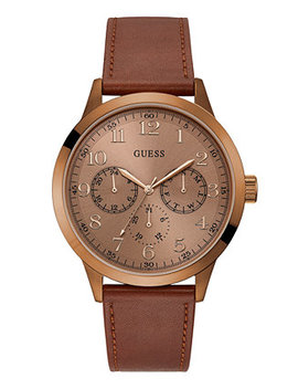 Men's Brown Leather Strap Watch 46mm by Guess