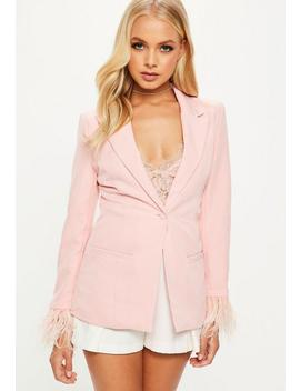 Pink Tailored Feather Cuff Blazer by Missguided
