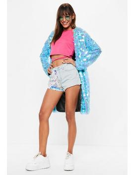 Blue Sequin Duster Coat by Missguided