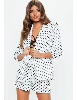 White Polka Dot Gathered Sleeve Blazer by Missguided