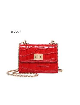 Mood Women Bag Mini Bag For Cowhide Material Crocodile Grain Joker Mini Chain Design Fashion Small Square Bag Free Shipping by Mood