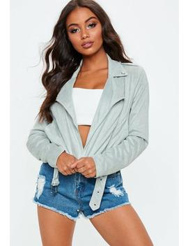 Light Gray Cropped Faux Suede Biker Jacket by Missguided