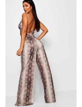 Snake Print Wide Trouser And Crop Top Co Ord by Boohoo