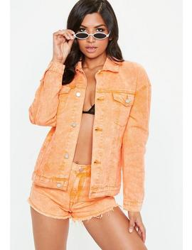 Orange Washed Denim Jacket by Missguided