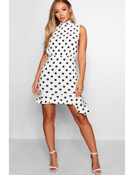 High Neck Frill Hem Polka Dot Dress by Boohoo