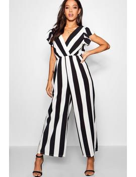 Wide Stripe Plunge Jumpsuit by Boohoo