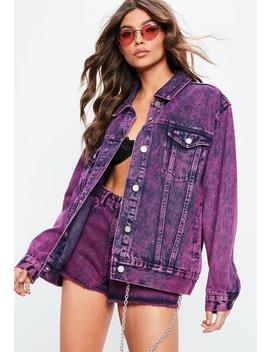Purple Oversized Washed Denim Jacket by Missguided