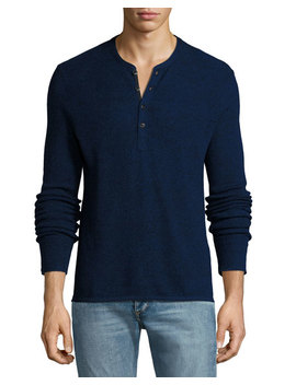 Giles Merino Wool Blend Henley Sweater, Navy Blue by Neiman Marcus