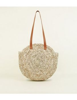 Stone Circle Straw Beach Bag by New Look