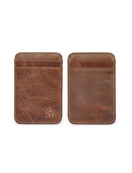 Genuine Leather Mens Small Id Credit Card Wallet Holder Slim Pocket Case Brown by Unbranded/Generic