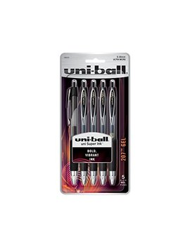 Uni Ball 207 Retractable Gel Pens, Ultra Micro Point (0.38mm), Black, 5 Count by Uni Ball