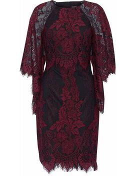 Draped Corded Lace Dress by Badgley Mischka