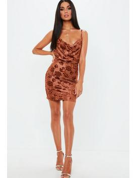 Rust Burnout Strappy Cowl Neck Mini Dress by Missguided