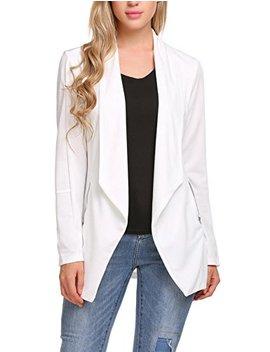 Elesol Women Casual Basic Work Office Blazer Open Front Draped Asymmetric Cardigan Jacket by Elesol