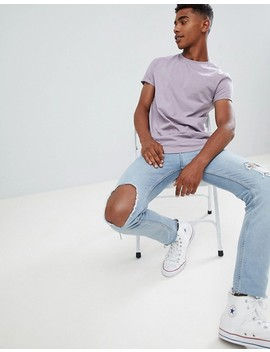 Asos Design T Shirt With Roll Sleeve In Purple by Asos Design