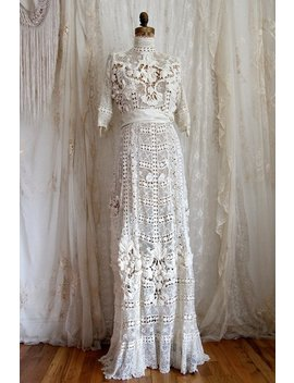 Dress From The Titanic / Authentic Antique Wedding Gown / Irish Lace / Ivory / Hand Made / Bridal Gowns And Separates / Size M by Etsy