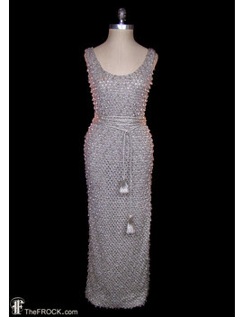 Sonia Rykiel Gown, French Couture Dress, Sleeveless Heavily Pearl Beaded Knit, Grecian Goddess Rope Belt, Bodycon Stretch Tank Dress, Silk by Etsy