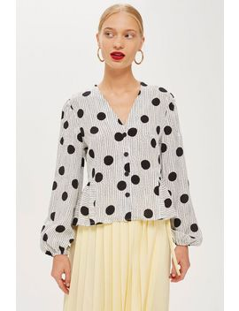 Spotted Jacquard Wrap Blouse by Topshop