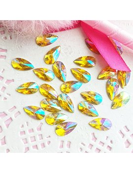 8x13mm Teardrop Ab Acrylic Special Effect Rhinestones Flat Backship With Samples From Great Deal68 (Topaz Ab) by Great Deal68